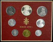 (BRILLIANT UNCIRCULATED 1963 Vatican Mint Set ~~ 8 Coins -- 1 to 500 Lire --Pope Paul VI )