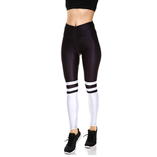 Lesubuy V Wide Waistband Full Length High Waisted Compression Gym Athletic Exercise Leggings Workout For Women,White,X-Small
