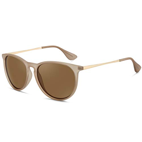WOWSUN Polarized Sunglasses for Women Girl Classic Vintage Round Style Matte Khaki Frame Tinted Brown Lens