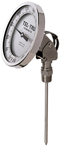 Tel-Tru 42100664 Model Aa575R Resettable Bi-Metal Process Grade Thermometer, Stainless Steel, 5'' Dial, 1/2'' Npt Adjustable Angle Back Connection, 0.250'' Diameter x 6'' Long 304Ss Stem, 50/500 Degrees Fahrenheit, +/- 1% Full Span Acc by Tel-Tru