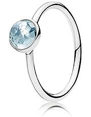 خاتم فضة استرليني عيار 925 مرصع بحجر كريستال ازرق اكوا للنساء من باندورا - 191012NAB-58