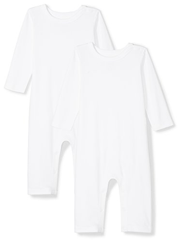 Moon and Back Baby Set of 2 Organic Long-Sleeve Snap-Shoulder Coveralls, White Cloud, Newborn