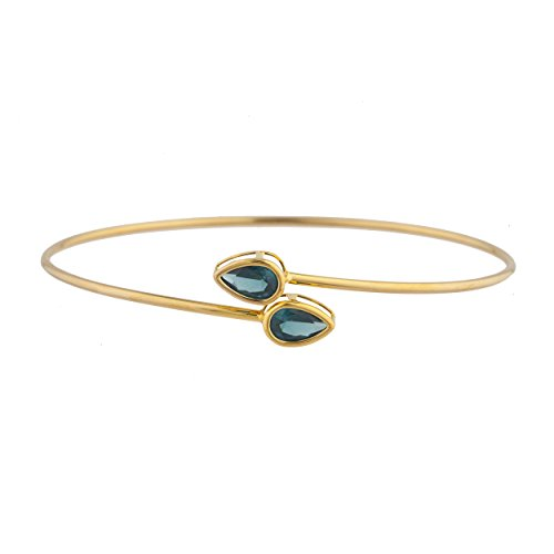 (14Kt Gold London Blue Topaz Pear Bezel Bangle Bracelet)