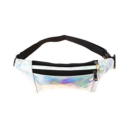 (Bulk Case of 24) Rave Waist Bags - Wholesale Men's, Women, Cute Travel Fanny Pack in Iridescent Silver for festivals for $<!--$101.40-->