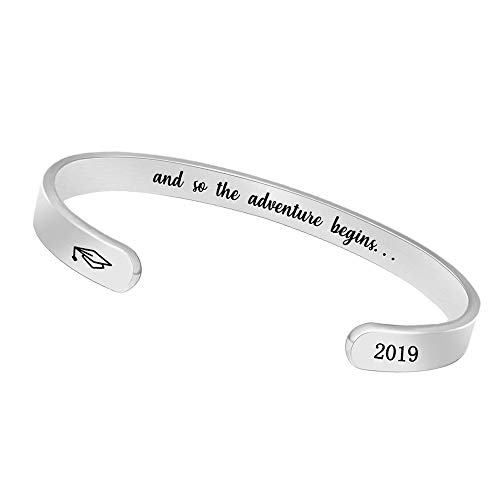 Inspirational Bracelets for Women Men Cuff Bangle Friendship Mantra Jewelry Come Gift Box (2019 and so The Adventure Begins.) (Best Christmas Gifts 2019 For Women)