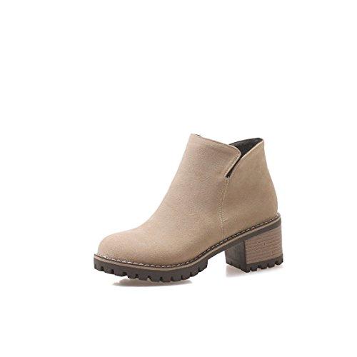 británica tacón Botas y de Alto DEDE de Mujer Sandalette código Simples Botas de Botas apricot Moda Gran de Mujer HwgxqE0