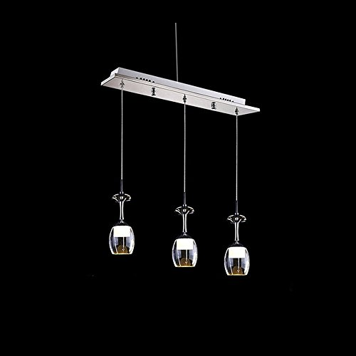 Techinal 3pcs Modern Simple Ceiling Light Wineglass Chandelier Dining Room Pendant Lamp for Kitchen Bar Decro - 220V AC, 6 SMD LED Integrated, 9W Lamp White