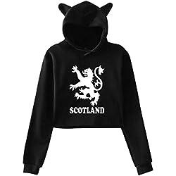 Womens Sexy Cat Ear Hoodie, Lion Rampant Scotland Scottish Midriff-Baring Graphic Print Sweatshirt