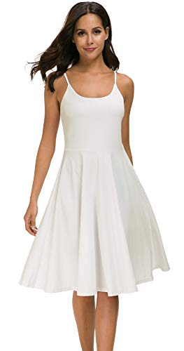 (Malist Women's Casual Sleeveless Adjustable Strappy Flared Midi Skater Dress Off-White Large)