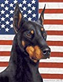 "Doberman Cropped Black by Tamara Burnett Patriotic II House Dog Breed Flag 28"" x 40"""