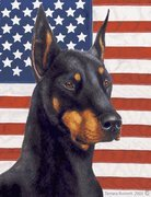 "Doberman Cropped Black by Tamara Burnett Patriotic II Garden Dog Breed Flag 12"" x 17″ Review"