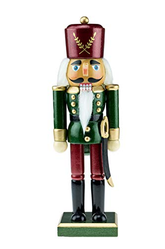 (Clever Creations Wooden Green and Maroon Traditional Soldier Nutcracker | Festive Green and Maroon Soldier Military Outfit | Festive Christmas Decor | Stands 10.25