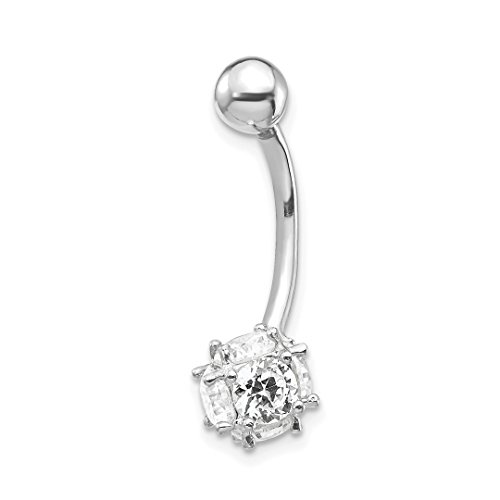 10k White Gold 7mm Cubic Zirconia Cz Soccer Ball Belly Button Rings Screw Navel Bars Body Piercing Naval Fine Jewelry For Women Gift Set
