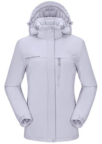 (CAMEL CROWN Womens Ski Jacket Waterproof Snowboard Winter Snow Warm Ski Coat for Women New Gray S)