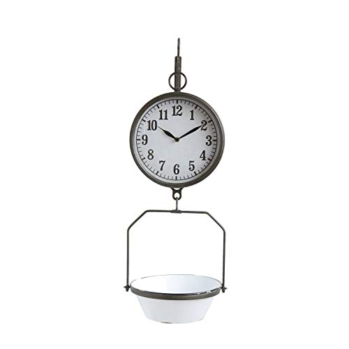 Sculpture Scale - Creative Co-Op White Decorative Reproduction Scale Wall Clock