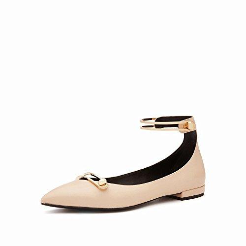 Femmes Simple de Et Chaussures Bouche DIDIDD Une Boucle des Chaussures Les Peu Profonde D'Été 'Mot Plat Chaussures 36 Plat S Printemps avec Femmes' Simples qwOx4I5