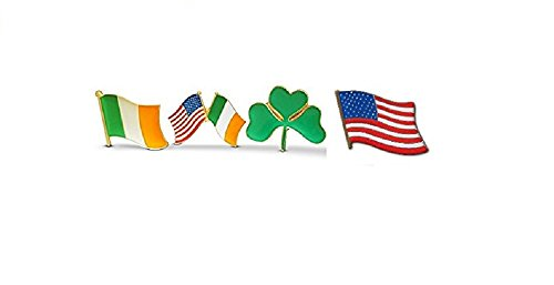 4-Piece Irish & American Flag & Shamrock Lapel or Hat Pin & Tie Tack Set with Clutch Back by Novel Merk,Green,Medium -