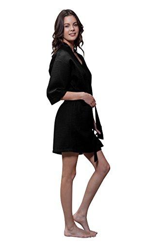 Turquaz Linen Lightweight Knee Length Waffle Kimono Bridesmaids Spa Robe (Large, ()