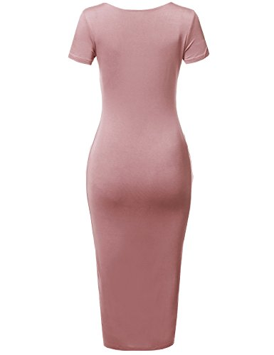 Short Body Rose Awesome21 Double Con Dress Women's Scoop Solid Aawdrs0006 Layer Neck Sleeves xBB87Ywq4
