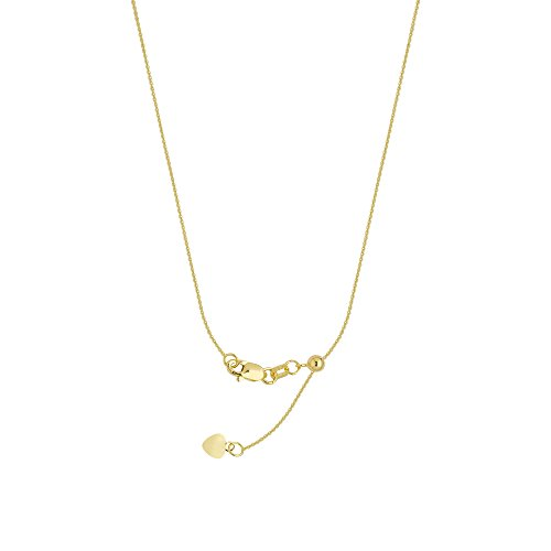 CABLE CHAIN, 14KT GOLD 22'' ADJUSTABLE 0,90MM WIDE CHAIN, 22 INCHES LONG by DiamondJewelryNY