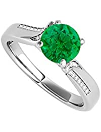 May Birthstone Round Emerald and CZ Ring 1.25 CT TGW