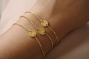 CHUYUN Silver Initial Charm Bracelets,Dainty Round Coin Disc Initial Bracelet Engraved Letters Personalized Name Bracelet for Girls