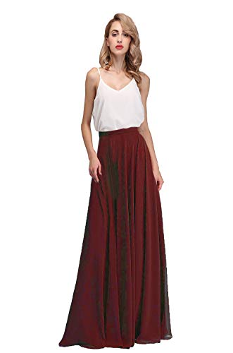 Honey Qiao Women's Chiffon Maxi Skirt Bridesmaid Dresses Long High Waist Floor/Ankle Length Elastic Woman Dresses with Belt - Skirt Gathered Waist