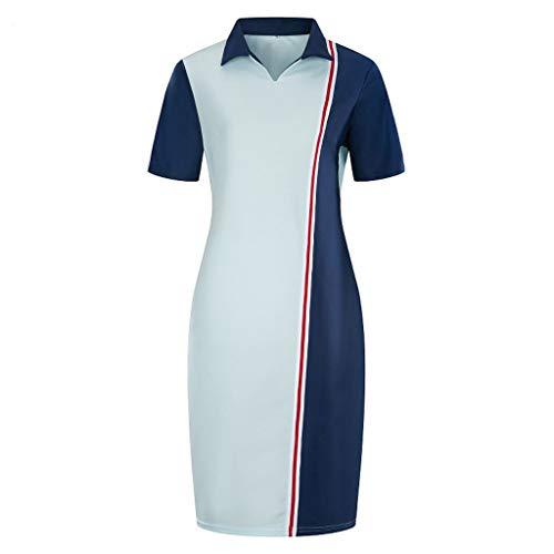 Summer Womens Vintage Sleeveless Print O-Neck Knee-Length Stand Collar Colorblock Dress (XXXXL, Light Blue) ()
