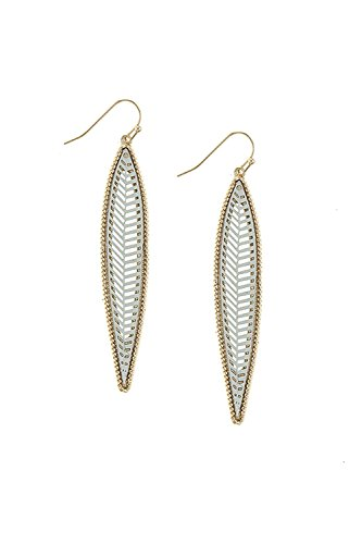 KARMAS CANVAS LONG THIN LEAF CUTOUT DROP EARRINGS - Judith Ripka 18k Ring