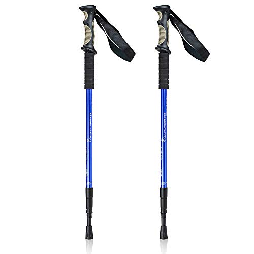 BAFX Products - 2 Pack - Anti Shock Hiking / Walking / Trekking Trail Poles - 1 Pair, Blue, Royal Blue