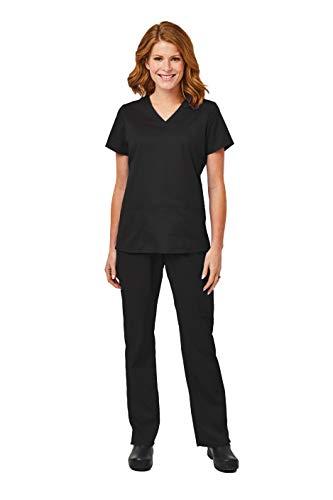 (Elements by Alexander's Uniforms EL9925 Women's Four Way Stretch Scrub Set (Black, Small))