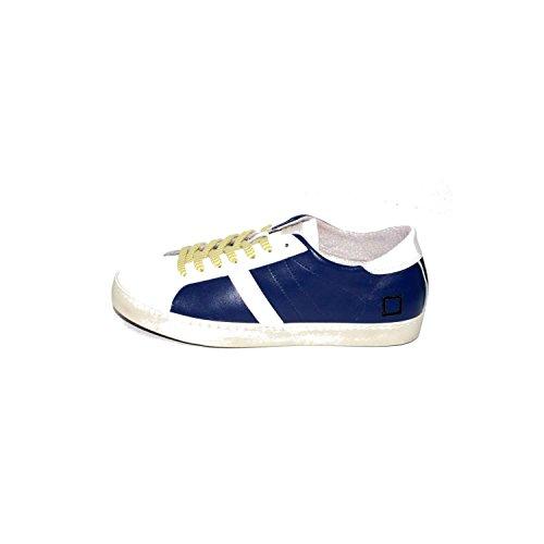 D.A.T.E. Date Scarpe Uomo Sneakers Hill Low Calf Bluette, con Lacci Blu