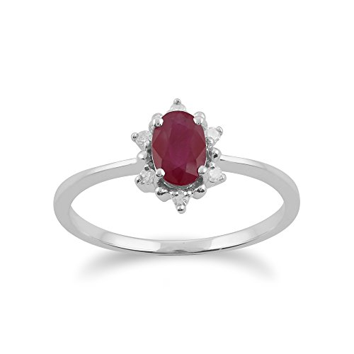 Gemondo Bague Rubis, 9ct Or Blanc 0,63 Ct Rubis & Diamant Ovale Bague Grappe