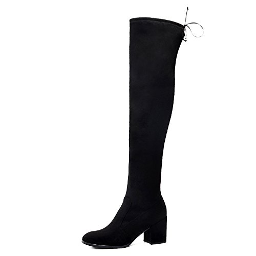 Black Microfiber Knee High Boots - DONNAIN Microfiber Boots Over The Knee Boots Fashion Women Shoes High Heels for Winter (8, Black)