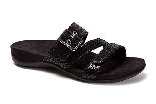 Vionic Women's Rest Skylar Slide Sandal- Adjustable Walking Sandals with Concealed Orthotic Arch Support Black 9 W US