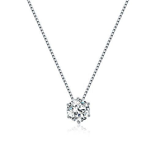 Sterling Zirconia Solitaire Necklace Floating product image