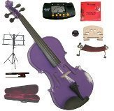 Merano 11'' Purple Student Viola with Case and Bow+Extra Set of Strings, Extra Bridge, Shoulder Rest, Rosin, Metro Tuner, Black Music Stand, Mute by Merano