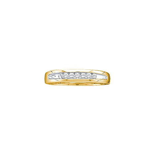 Two Tone Channel Set (14kt Yellow Gold Mens Round Channel-set Diamond Two-tone Single Row Wedding Band 1/4 Cttw (I2-I3 clarity; J-K color))