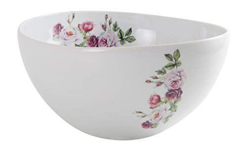 The CIJA Rose Garden Fine Bone China Salad Bowl, White