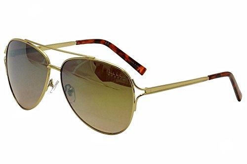 Nicole Miller Women's Cooper C01 Gold/Tortoise Fashion Aviator Sunglasses - Rimless Aviator Sunglasses 59mm Semi