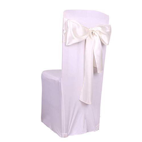 Fvstar 25pcs Ivory Wedding Chair Sashes Satin Chair Ribbons Chair Cover Bows Chairs Back Tie Bands for Baby Shower Birthday Banquet Party Event