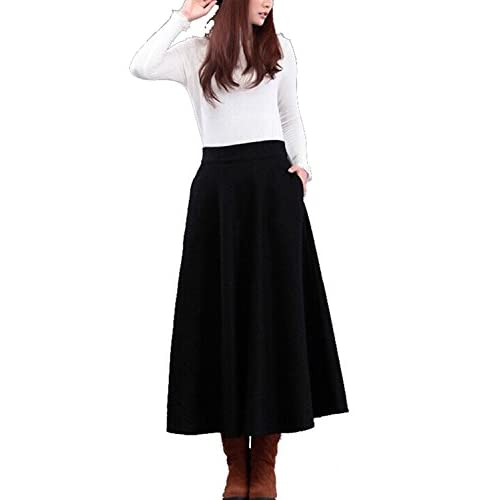 Nice B dressy Women's Black Winter Cashmere Wool Maxi Long Skirt
