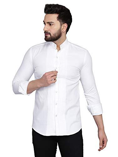 DUENITE White PRINTEST Cotton Shirt for Men