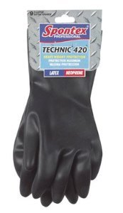 Spontex Technic Gloves 420 Neoprene, Cotton Flock Lining Extra Large Carded