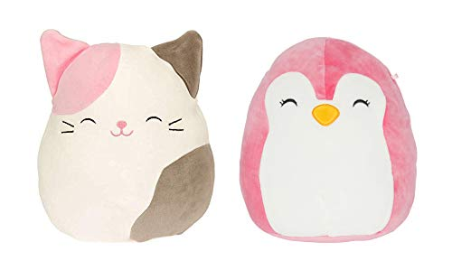 "Squishmallows Set of Two 5"" Small Plush Toys - Calico Cat and Piper The Pink Penguin"