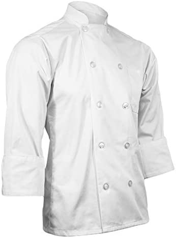 CHEFSCLOSET PERSONALIZED WHITE EMBROIDERED CHEF COAT CUSTOMIZED CHEF JACKET SMALL