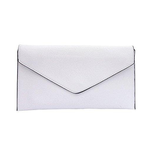 Style Leather Faux Envelope Purse New Evening Wedding Clutch White Bag Ladies Women qOTRqt