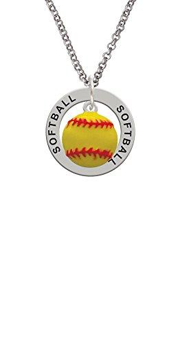 Optic Pitcher - Silvertone Large Optic Yellow Softball - Softball Affirmation Ring Necklace