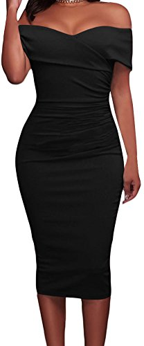 YeeATZ Women Black Ruched Off Shoulder Bodycon Midi Dress