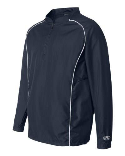 Rawlings Adult Quarter-Zip Long Sleeve Dobby Jacket With Piping (Navy) (3X)